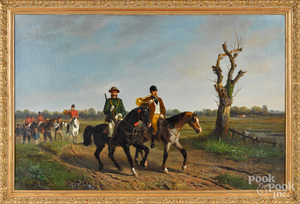 Paul VanDerVin oil on canvas hunt scene