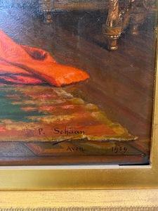 Paul Schaan oil on panel interior scene