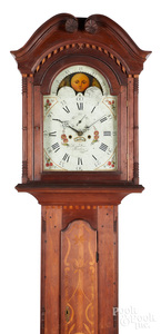 Berks County, Pennsylvania walnut tall case clock