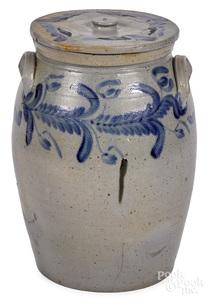 Large Pennsylvania stoneware lidded crock, 19th c.