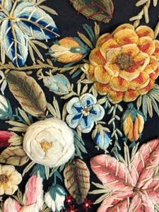 Large floral needlework panel
