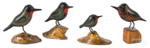 Joseph Moyer four small carved and painted birds