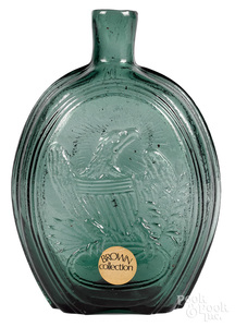 New Jersey historical green glass flask
