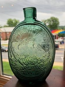 Philadelphia historical pale green flask