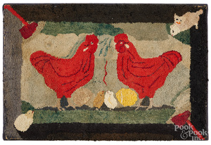 American hooked rug, late 19th c.