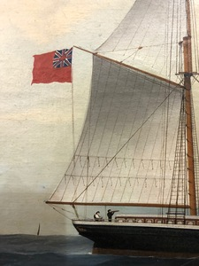 China Trade oil on canvas of a British ship