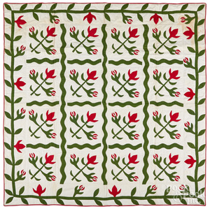 Red and green cactus flower quilt