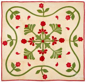 Appliqué rose crib quilt, mid 19th c.