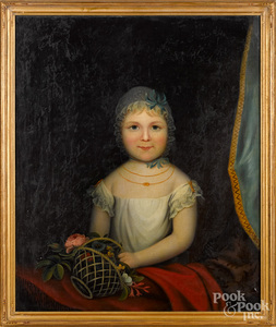 Oil on canvas portrait of a child with basket