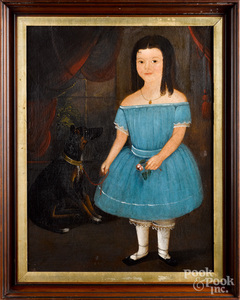 American oil on canvas portrait of young girl