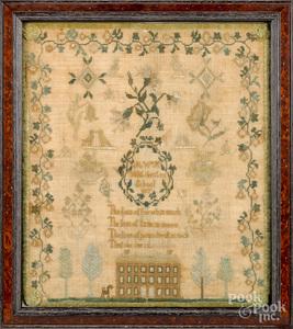 Chester County, Pennsylvania silk on linen sampler