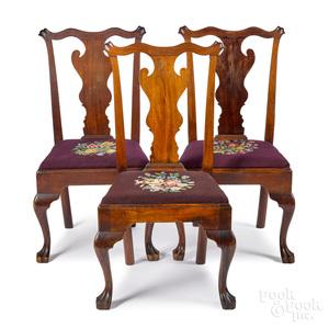 Three Pennsylvania Queen Anne walnut dining chair