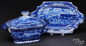 Historical blue Staffordshire tureen and tray