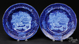 Historical blue Staffordshire plate and bowl