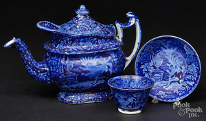 Historical blue Staffordshire teapot, etc.