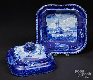 Historical blue Staffordshire serving dish