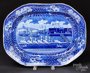 Historical blue Staffordshire Landing of Lafayett