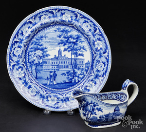 Historical blue Staffordshire plate and gravy