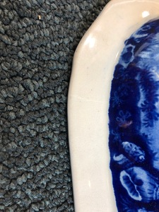 Historical blue Staffordshire platter and dish