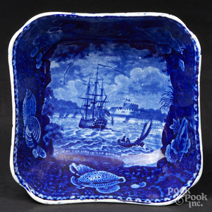 Historical blue Staffordshire open serving dish