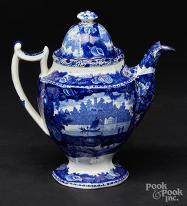 Historical blue Staffordshire coffee pot