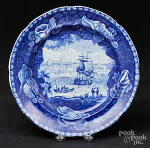 Historical blue Staffordshire plate