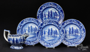 Four Historical blue Staffordshire plates, etc.