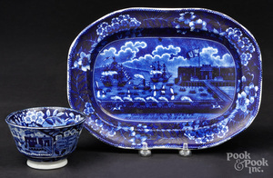 Historical blue Staffordshire platter and cup