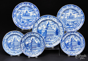 Six Historical blue Staffordshire plates