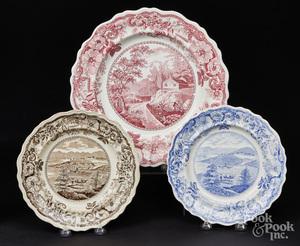 Three Historical Staffordshire plates