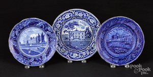 Three Historical blue Staffordshire plates