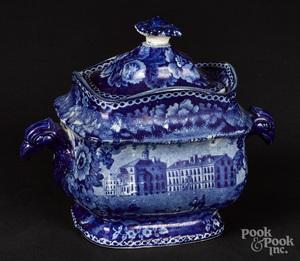 Historical blue Staffordshire sugar