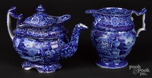 Historical blue Staffordshire pitcher and tea pot