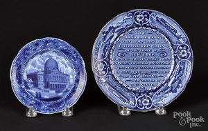 Two Historical blue Staffordshire toddy plates
