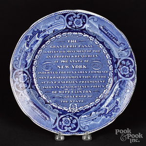 Historical blue Staffordshire Erie Canal plate