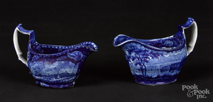 Two Historical blue Staffordshire gravy boats