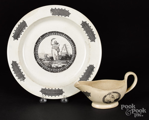 Liverpool Herculaneum plate and gravy boat