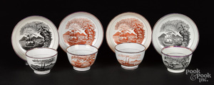 Four Historical Staffordshire cups and saucers