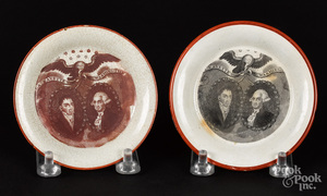 Two Historical Staffordshire cup plates, 19th c.