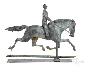 Horse and rider copper weathervane