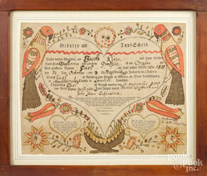 Friedrich Krebs birth and baptismal certificate