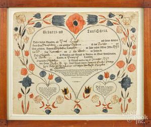 Pennsylvania birth and baptismal certificate