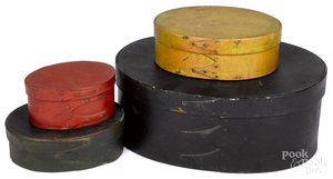 Four painted bentwood boxes, 19th c.