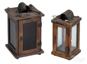 Two primitive wood lanterns, 19th c.