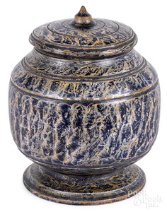 New England turned lidded treen canister
