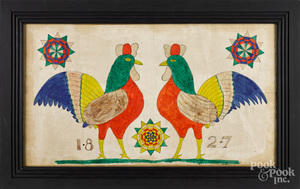Pennsylvania watercolor of two roosters