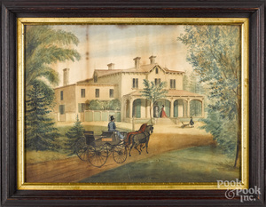 New England watercolor on paper house portrait