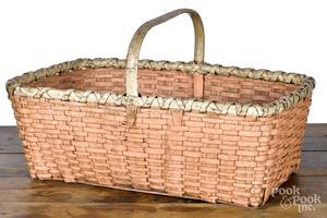 Painted split oak basket, 19th c.