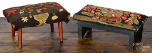 Two small needlework footstools