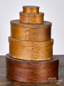 Five Shaker stacking bentwood boxes, 19th c.